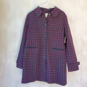 NWOT 1901 Navy Red Plaid Coat